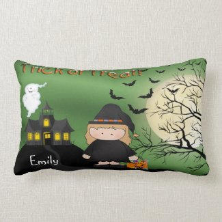 """Halloween Cute Witch Lumbar Pillow (21""""x13"""" )"""