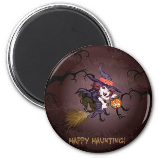 Halloween cute witch on broomstick and pumpkin magnet