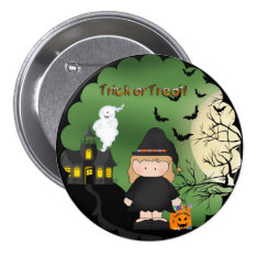 Halloween Cute Witch Round Button at Zazzle