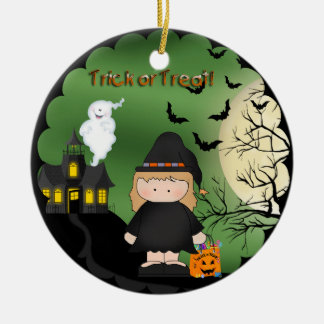 Halloween Cute Witch Round Ornament
