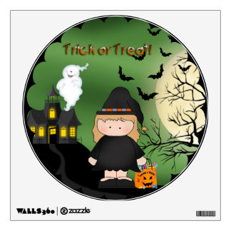 Halloween Cute Witch Round Wall Decal