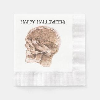 Halloween da Vinci skull sketch Paper Napkin