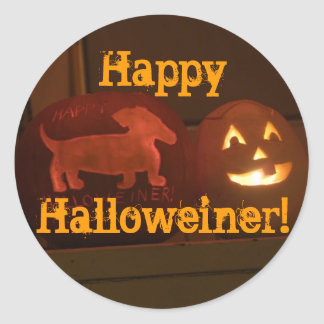 Halloween dachshund jack-o-lantern classic round sticker