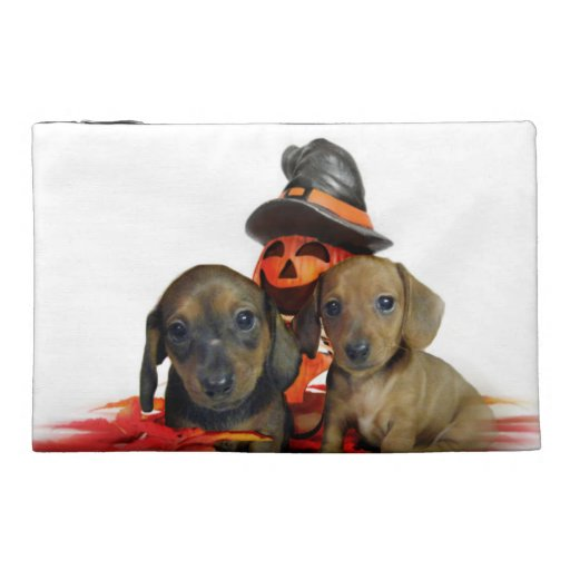 Halloween Dachshund Puppies Travel Accessory Bags