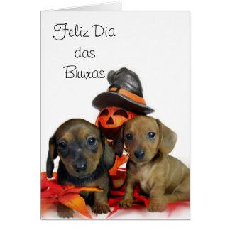 Halloween Dachshund puppies Card