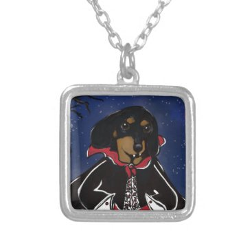 Halloween Themed Halloween Dachshund Silver Plated Necklace