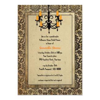Halloween Damask and Chandelier Bridal Shower Card