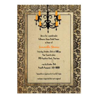 Halloween Damask and Chandelier Bridal Shower Custom Announcement