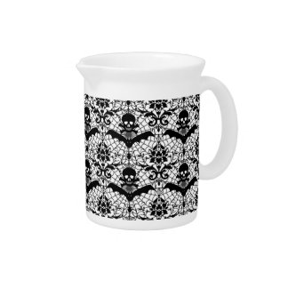 Halloween Damask Beverage Pitcher