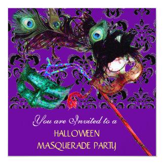 HALLOWEEN  DAMASK MASQUERADE PARTY purple blue Card