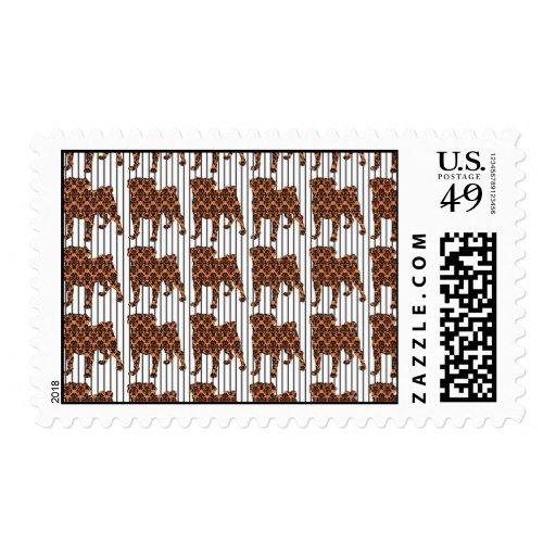 Halloween Damask Pugs on Stripes Stamp