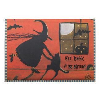 Halloween Dance Party Eat Drink Witch Cat Place Mat