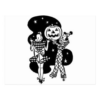 Halloween dancing ladies postcard