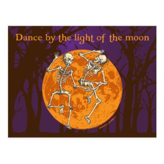 Halloween Dancing Skeletons Moon Postcard