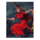 Halloween Dancing Witch Postcard