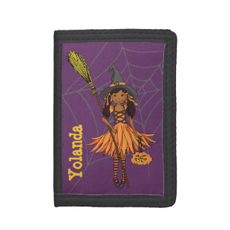 Halloween dark witch girl add your name trifold wallets