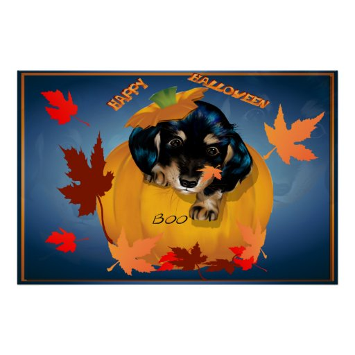 Halloween Dashund Puppy-Boo-Posters Poster