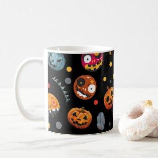 Halloween day  ghost pumpkin on black background coffee mug