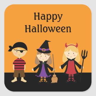 Halloween de encargo embroma a los pegatinas del calcomanias cuadradas