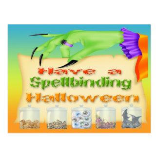 Halloween de hechizo - postal de la mano de la bru
