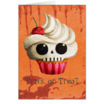 Halloween Deadly Skull Cupcake Greeting Card