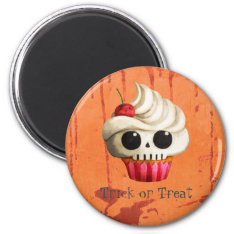 Halloween Deadly Skull Cupcake Magnet at Zazzle