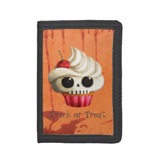 Halloween Deadly Skull Cupcake Trifold Wallet