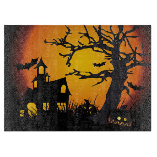 Halloween Decorative Glass Cutting Board/Haunted Cutting Board
