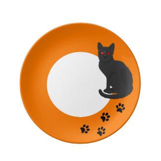 Halloween Decorative Plate - Black Cat Paw Prints Porcelain Plate