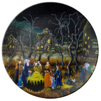 Halloween decorative plates, witches with cauldron porcelain plate