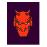 Halloween devil head devils head postcard