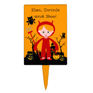 Halloween devil kid goes trick or treating cake topper