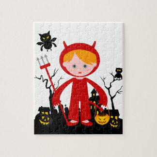 Halloween devil kid goes trick or treating jigsaw puzzle