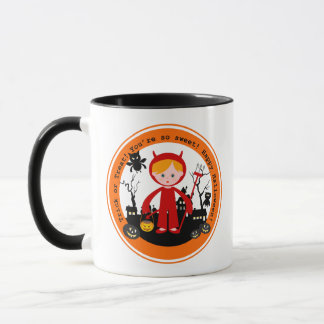 Halloween devil kid goes trick or treating mug