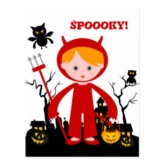 Halloween devil kid goes trick or treating postcard