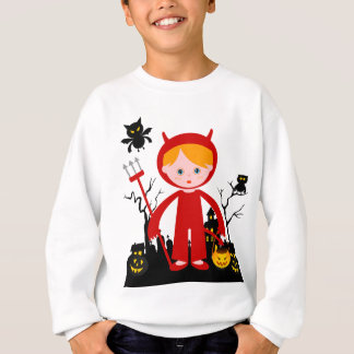 Halloween devil kid goes trick or treating sweatshirt