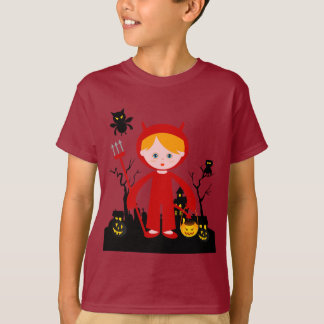 Halloween devil kid goes trick or treating T-Shirt