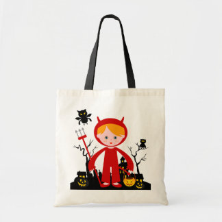 Halloween devil kid goes trick or treating tote bag