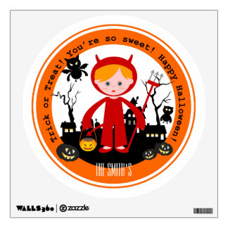 Halloween devil kid goes trick or treating wall sticker