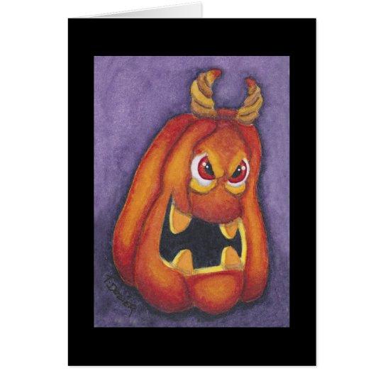 Halloween devil pumpkin card