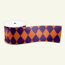 Halloween Diamond Pattern Orange and Purple Satin Ribbon