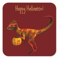 Halloween Dilophosaurus Square Stickers