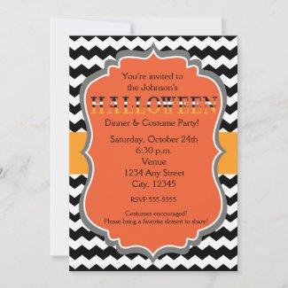 Halloween Dinner Costume Party Chevron Invitation