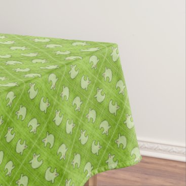 Halloween Themed Halloween Diva Ghost on Diagonal Green Tiles Tablecloth