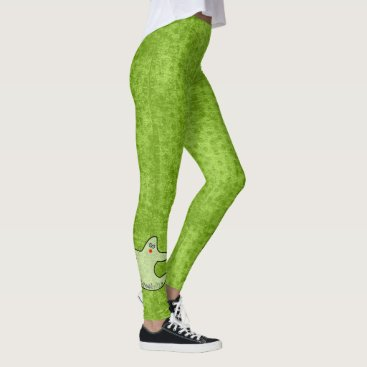 Halloween Themed Halloween Diva Ghost Spookaliza on Green Texture Leggings