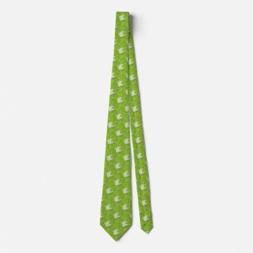 Halloween Themed Halloween Diva Ghost Spookaliza on Green Tiles Neck Tie