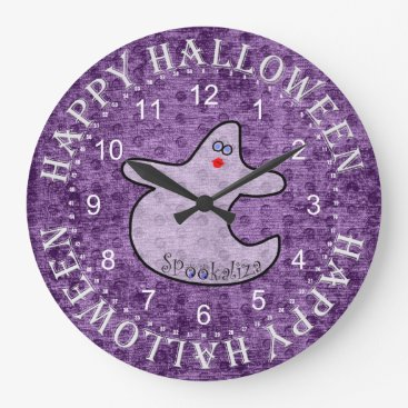 Halloween Themed Halloween Diva Ghost, Spookaliza on Purple Large Clock
