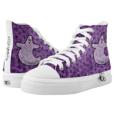 Halloween Themed Halloween Diva Ghost Spookaliza on Purple Texture High-Top Sneakers