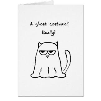 Halloween divertido - gato enojado en un traje del tarjeta de felicitación