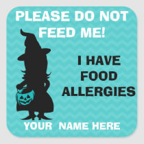 Halloween Do Not Feed Allergy Alert Teal Pumpkin Square Sticker
